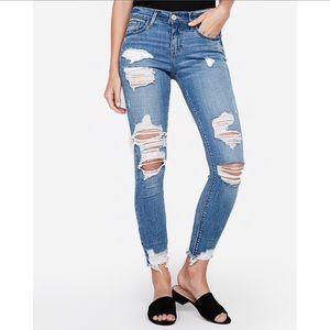 Express Mid-Rise Distressed Jeans